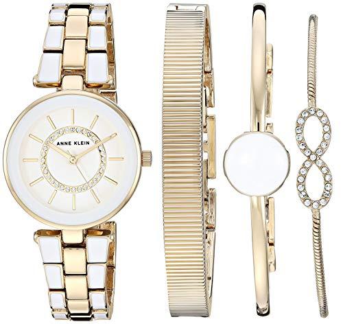 Anne Klein Women's AK/3286WTST Swarovski Crystal Accented Gold-Tone and White Watch and Bracelet Set ()