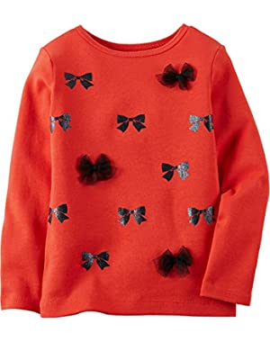 Baby Girls' Long Sleeve Tee Top Bows (12m, Red)