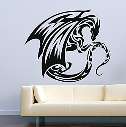 7984c90f0 Image Unavailable. Image not available for. Color: Dragon Wall Decals Fire Flying  Tribal ...
