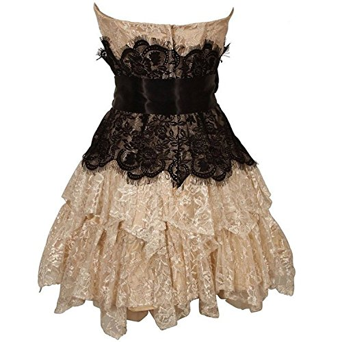 für CoCogirls Frauen Abendkleid Junior Kurz Ballkleid Partykleider Abiballkleider Spitze Champagne Brautjungfernkleid 1c1nUBW