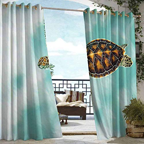 DILITECK Outdoor Curtain Turtle Cute Baby Turtle Swimming in Abstract Waters Serene Nature Picture for Patio/Front Porch W96 xL84 Seafoam Brown Pale Coffee