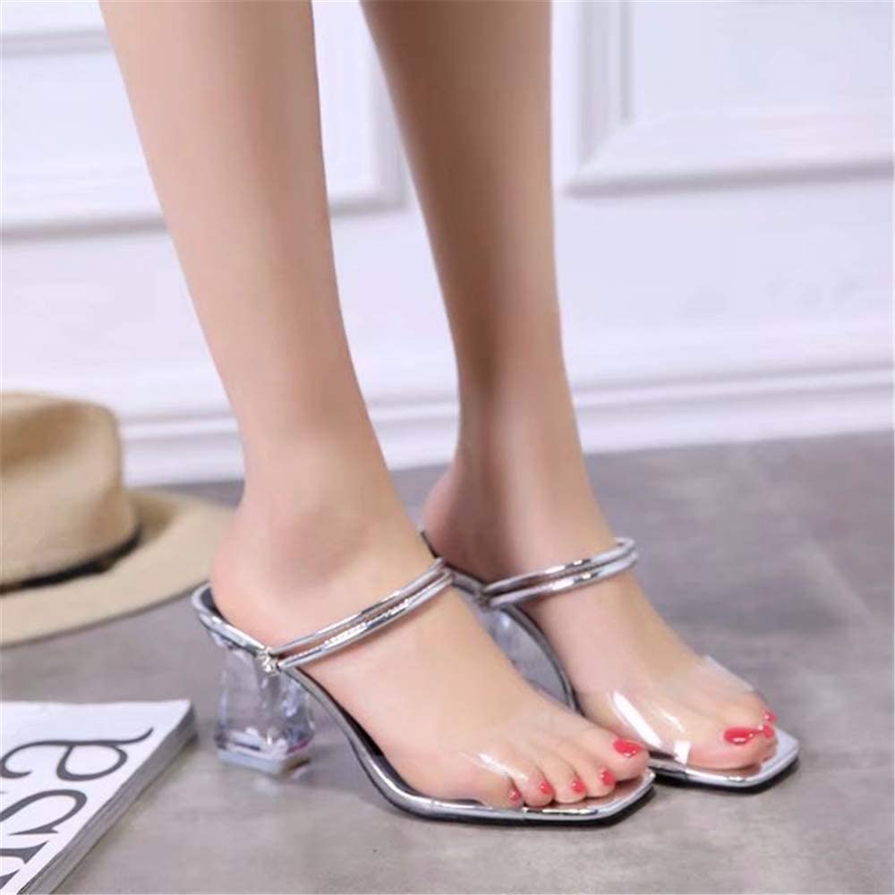 Sandals and Slippers Female 2019 New Summer Chic Net Red Thick with Fish Mouth Word Drag Fashion Transparent Crystal High Heels