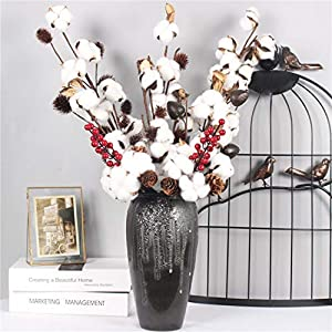 Artificial Cotton Flower 2 Colors Single Branch Simulation Flower DIY Wedding Decoration for Home Party Office 1 Pcs,D 2