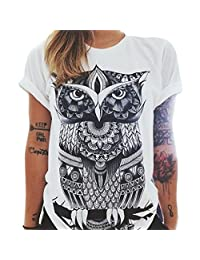 M-Egal Women Owl Letters eye Print T shirt Loose Solid Color Round Neck Short sleeved T shirt