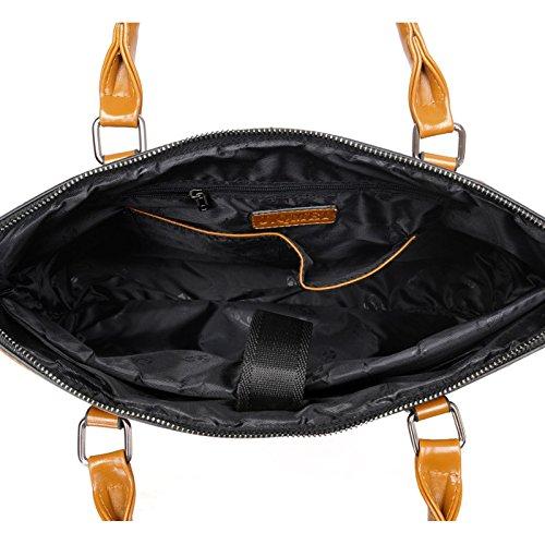 Bag Section Bag Laptop FLHT Bag Handbag Shoulder Backpack Leather Business Red Large Cross Bag Computer Bag Briefcase Messenger Capacity Waterproof Ladies EOEfqxnSXA