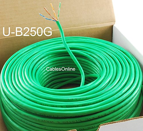CablesOnline 250ft CAT5e 100% Pure Copper RJ45 350Mhz UTP Solid Ethernet Cable Spool, Green, U-B250G 250' Cat5 Cable