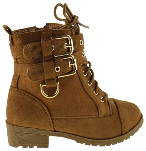 Cherry 6k Little Girls Combat Lace Buckle Boots Tan