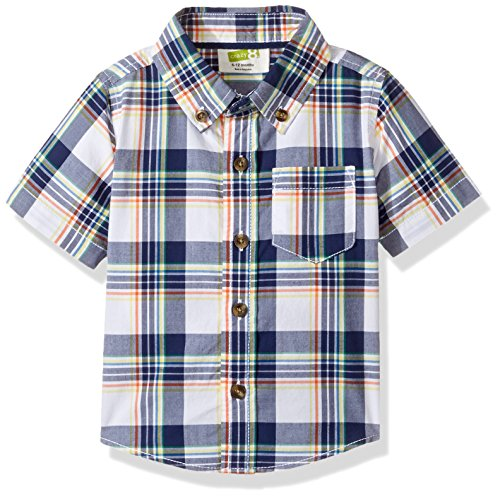 Crazy 8 Baby Toddler Boys' Plaid Ss Wovent Top, Navy Multi, 12-18 Months