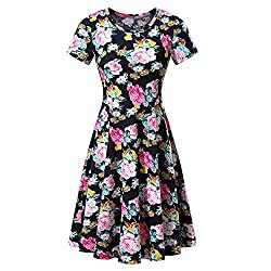 Uoknice Women Floral Printed Short Sleeve Summer A Line Casual Swing Dress Pink