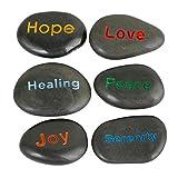 rockcloud Pack of 4 Black Engraved Inspirational Stones Love Stones, Hope, Love, Joy, Healing, Peace, Serenity