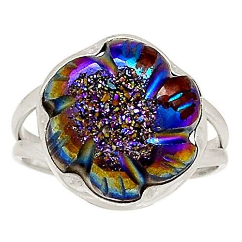 Carved Titanium Rings (Xtremegems Hand Carved - Titanium Aura Druzy 925 Sterling Silver Ring Jewelry Size 10 20050R)