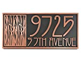 Cattail Craftsman House Numbers - 18x8.5 - Raised Copper Metal Coated Sign