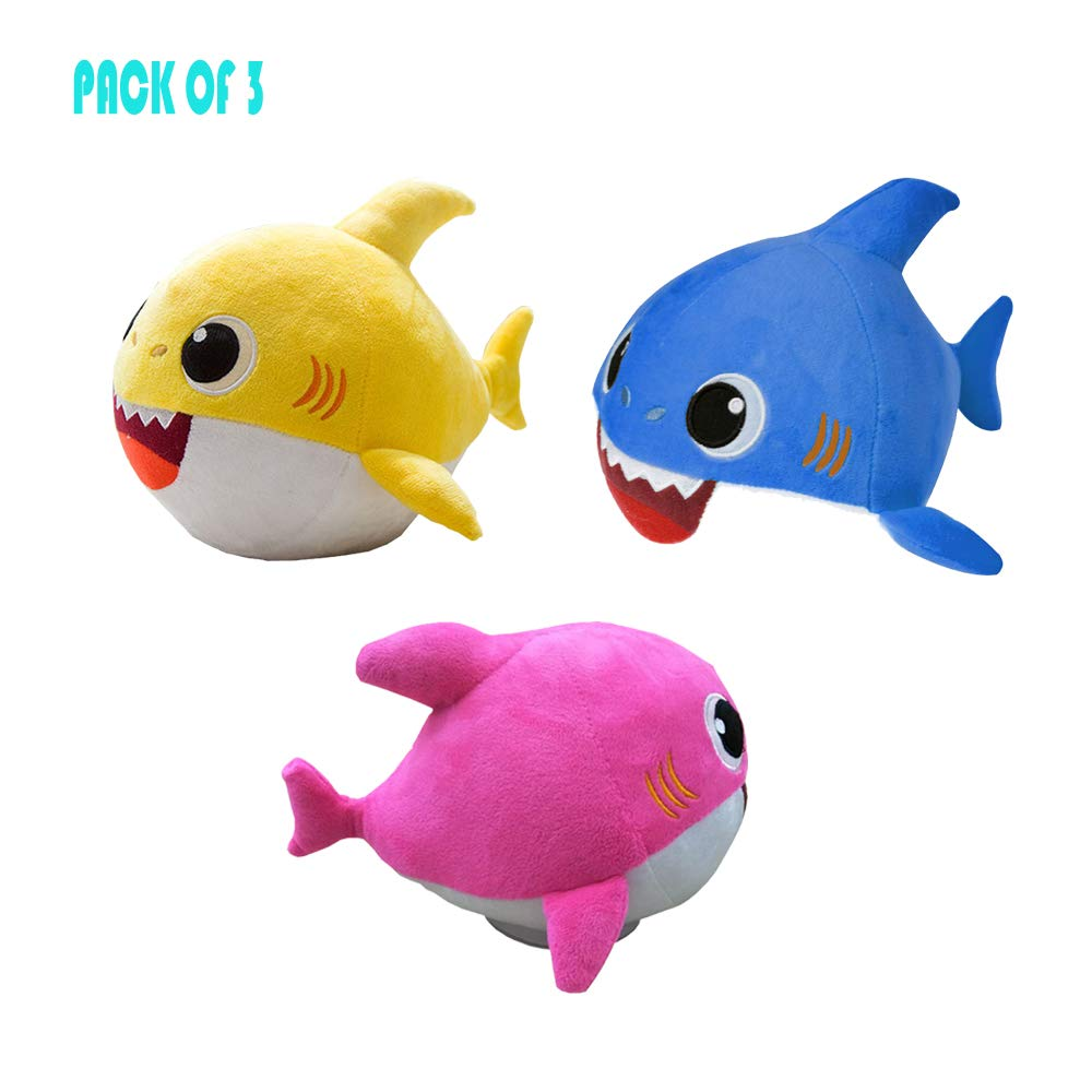 QTIVY Baby Shark Singing Plush Toy Adorable Dancing Shark Stuffed Animal Doll Great Gift for Baby & Toddler (Blue&Pink&Yellow) by QTIVY