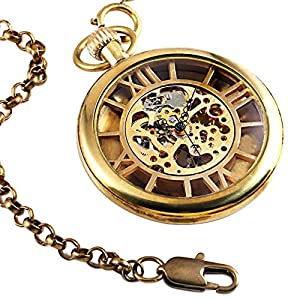 Steampunk Vintage Watch Mechanical Skeleton Chain Gold Mens Pocket Watch Roman Number Gift Box