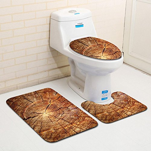 Floor Standing Bidet Set (Mikey Store Set of 3 , Non Slip Toilet Seat Cover Rug Bathroom mat (Color A))