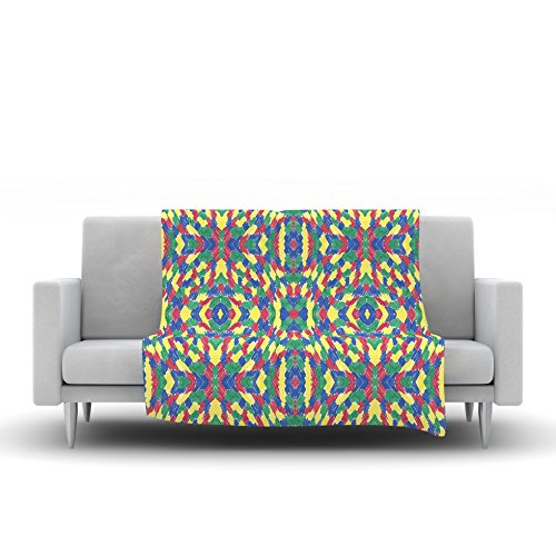 80 by 60 Kess InHouse Empire Ruhl Energy Abstract Multicolor Pattern Fleece Throw Blanket