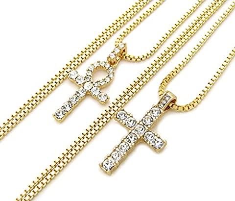 Egyptian Iced Out Ankh, Cross Pendant 20