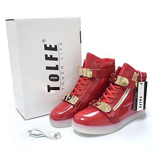 ToLFE Männer Frauen High Top USB Lade LED Leuchten Schuhe Blinkende Turnschuhe rot