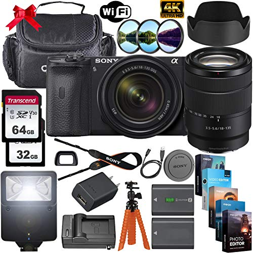 Sony Alpha a6600 Mirrorless Digital Camera 24.2MP 4K with 18-135mm Lens + 64GB & 32GB Memory Cards, Sturdy Equipment Carrying Case, Spider Tripod, Camera Flash, Software Kit and More