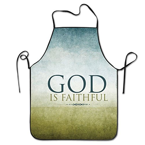 God Is Faithful Chef Aprons Professional Bib Apron For Women Men Girl Kids Gifts Kitchen Decorations (Dead Farmer Costume)