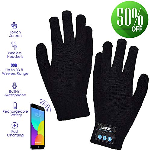 Bluetooth Gloves, Wireless Gloves Winter, Touch Screen Gloves Men Women for Outdoor Sports,Calling,Listening, Christmas Gifts Women Men (black)