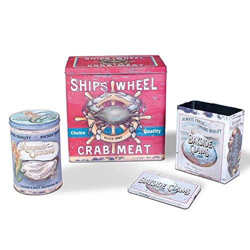 3 Piece Vintage Seafood Tin Set