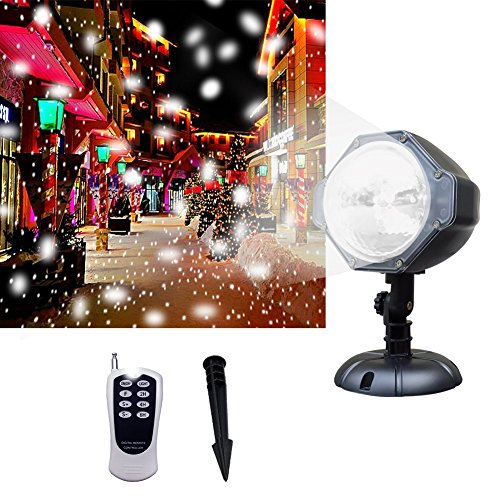 Projector Light, [Wide Coverage Version] White Snowflake Auto Moving Christmas Light Projector, Snow-fall Light Show with Remote Rotating Projection Light Outdoor/Parties/Hallowen Decorations