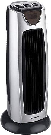Opinión sobre FHDF Ventilador de Torre de Alta Velocidad, Modos Casa en el hogar con termostato Ajustable Calentador Control Remoto Falling Power Display Household Electric (Silver Black)