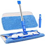 MR. SIGA Professional Microfiber Mop,Stainless Steel Handle - Pad Size: 42cm x23cm, 2 Free Microfiber Cloth Refills and 1 Dirt Removal Scrubber Included