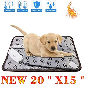 wangstar Pet Heating Pad Indoors for Dog Cats Small Animal 20''x15'', Indoors Safety Electric Dog Heat Mat Waterproof Steel Chew Proof