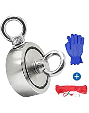 Fishing Magnet, Double Sided Magnet Super Strong Neodymium Magnet with Heavy Duty Rope & Carabiner for Magnet Fishing and Retrieving in River (60mm)