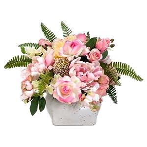 "14""Hx17""Wx21""L Rose/Peony/ Allium/Hydrangea in Stoneware Pot Rose Pink 14"
