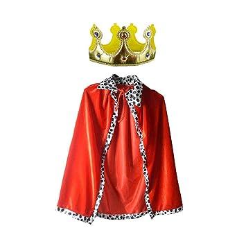 NUOBESTY 2 Piezas Disfraz De Rey Capa Y Corona Reina Halloween ...