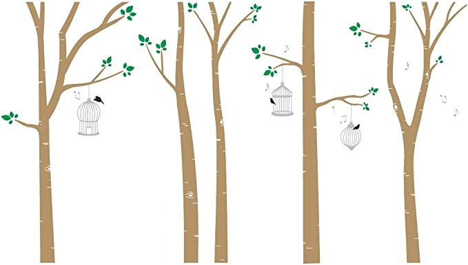 Bird Cages In Birch Trees Wall Decal Light Brown Silver Home Kitchen