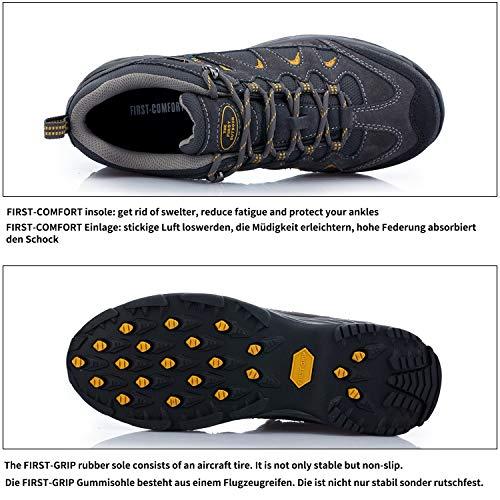 Dunkelgrau Wasserabweisende Beachten Atmungsaktive Damen Produktbild mit TFO gelb Sohle Anti im Hersteller Größentabelle Rutsch Schuhe Wanderschuhe Trekking und Herren fwYfaTqI