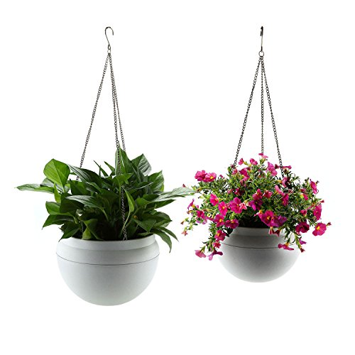 T4U Plastic Self Watering Hanging Planter Pot Basket with Watering Hole Set of 2, Modern Decorative Hanger Pot for Most Plants, Flowers, Herbs, African Violets