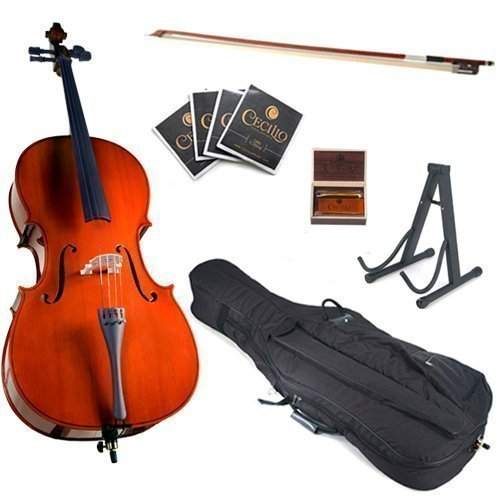 Cecilio CCO-100 Student Cello with Soft Case, Stand, Bow, Rosin, Bridge and Extra Set of Strings, Size 4/4 (Full Size) Case Maple Fingerboard