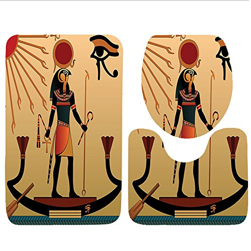 durable service Keshia Dwete three-piece toilet seat pad customEgyptian Illustration of Ancient God Sun Ra Old Egyptian Faith Grace Icons Traditional Pagan Print Multi