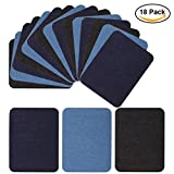 #6: Iron On Denim Patches for Jean Clothing 18 Pieces No-Sew Denim Patches Assorted Cotton Jeans Repair Kit by POAO, 6 Pcs Per Colors, 3 Assorted Colors, 5 x 3 3/4 Inch