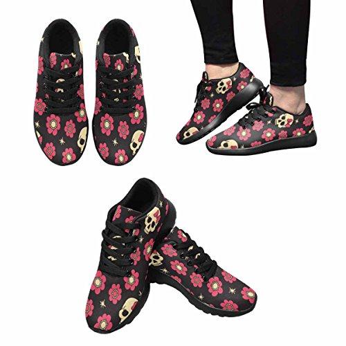 Interestprint Mujeres Casual Soft Sports Road Running Zapatos Para Caminar Flores Y Cráneos Multi 1