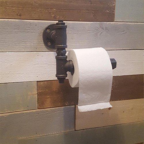 Xiaolanwelc@ Toilet Roll Paper Towel Rack Holder Retro Industrial Style Wall Mounted Bathroom Bedroom Pipe Metal Iron Painted Black Matt