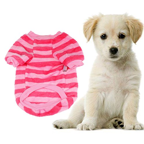 [Wensltd Autum Coral Fleece Pet Warm Sweater Doggy Apparel Stripe Hot+cool (S, D)] (Autum Fairy Costumes)