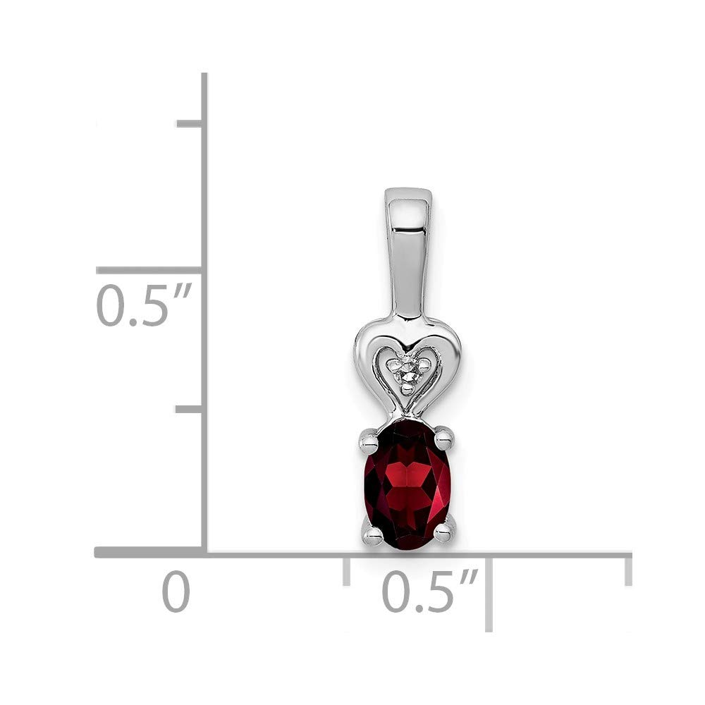 Solid 925 Sterling Silver January Simulated Birthstone Simulated Garnet /& Diamond Pendant 16mm x 5mm .01 cttw.