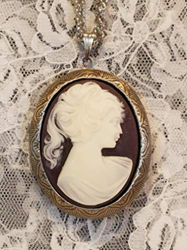 - Purple Lady Cameo Locket Necklace Antiqued Silvertone