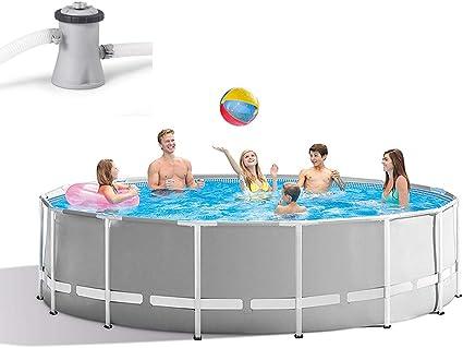 ZZQH Piscina Desmontable con depuradora, Piscina Tubular (Circular), Piscina Hinchable, Frame Pool Set, Gris, 366 x 76cm / 145 x 30In: Amazon.es: Deportes y aire libre