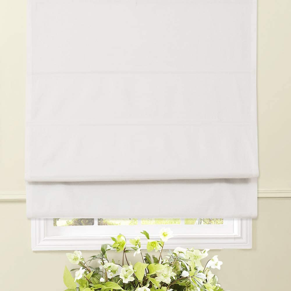 Artdix Roman Shades Blinds Window Shades - White (1 Piece) Blackout Solid Thermal Fabric Custom Made Roman Shades for Windows, Doors, Home, Kitchen
