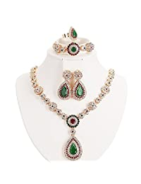 Moochi Gold Plated Jewelry set Red & Green Beads Oval Pendant Necklace Earrings Bracelet Ring