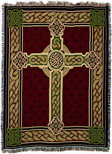 Cotton Throw Irish (Pure Country Weavers - Celtic Irish Tapestry Woven Boho Throw Blanket with Fringe Cotton USA Size 72 x54)
