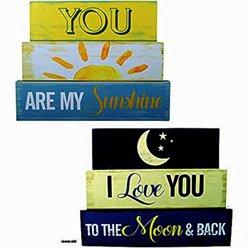 You Are My Sunshine Reversible Wooden Table Block Sign, 10 Inch ()