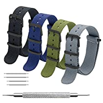 Nato Strap 4 Packs 16mm 18mm 20mm 22mm 24mm Black Stainless Steel Buckle Premium Ballistic Nylon Watch Bands Zulu Style